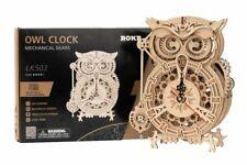 Robotime 3d DIY Mechanical Gear Wooden Owl Clock Modern Puzzle Kit