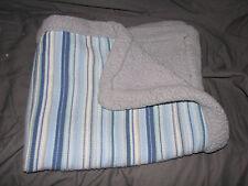 CIRCO BABY BOY BLANKET KNIT SWEATER STRIPE SHERPA GRAY BLUE WHITE