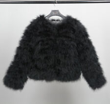 New Hot 100% Real Ostrich Fur Feather Short Coat Jacket Fluffy Soft Women Winter