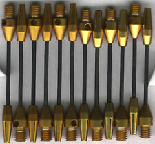 2in. 2ba Gold Steel Wire Dart Shafts: 3 per set