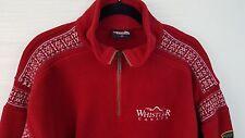 Sweater WHISTLER Pullover Red Fleece Wool Nordic Quarter Zip S/M Sweatshirt