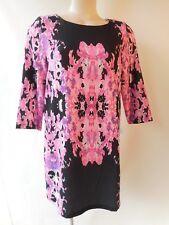 Blossom black pink print dress size 10 3/4 sleeve