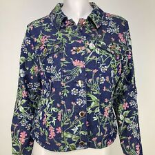 C Wonder Womens 6 Floral Botanical Denim Jean Jacket Stretch Layering Boho Artsy