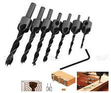 Durable 7 x HSS Flute Countersink Drill Bit Set Screw Woodwork Chamfer Tool