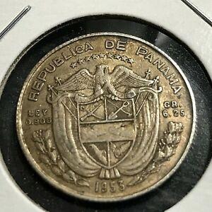 1953 PANAMA SILVER 1/4 BALBOA BETTER GRADE COIN