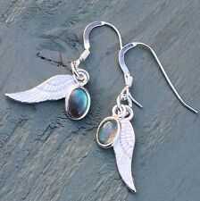 Labradorite Charm & Wing Earrings 925 sterling silver Hooks Wicca Archangel