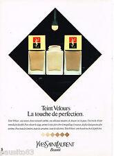 PUBLICITE ADVERTISING 055  1982  YVES SAINT LAURENT cosmétiques TEINT VELOURS