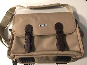 Vintage Official Canon Camera Carrier Shoulder Bag Tan Leather Straps Good