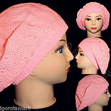 Pink Winter Lady's Warm Knitted Knit Beret Braided Ski Cap Baggy Beanie Crochet