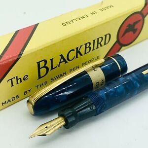 Mabie Todd Swan Blackbird Fountain Pen Blue Marbled 14k Stickered NOS Rare