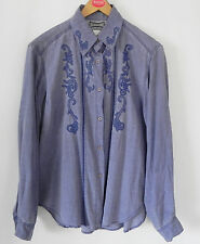 Hype Top Tunic/Buttondown Shirt Distressed Blue/Gray Rayon Embroidery Size M/L
