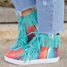 Flat Casual High Top Shoes Women Tassel Ethnic Leopard Striped Ankle Boots Comfy