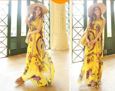 Korean Women's Fashion Floral Print Chiffon Beach Maxi Long Dress Yellow