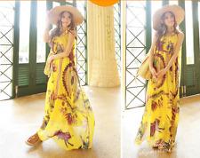 Korean Women's Fashion Floral Print Chiffon Beach Maxi Long Dress Yellow1
