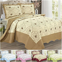 3 Piece Quilted Bedspread Throw Reversible Bedding Set Single Double King Size