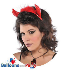Adult's Red Devil Horns Halloween Demon Fancy Dress Party Accessory Headband