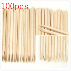 100Pcs Wood Stick Nail Art Cuticle Pusher Remover Pedicure Manicure Tool Supply