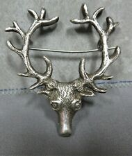 ANTIQUE SILVER SCOTTISH STAG LAPEL FLOWER HOLDER GENTS BOUTONNIERE CORSAGE.