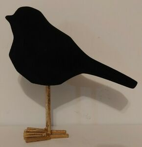 NEW!! Black Velvet Gold Metal Legs Table Top Bird Figure