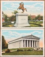 Set of 2 Nashville, Tennessee Postcards: Andrew Jackson Statue & Parthenon -1930