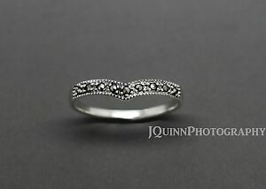 925 Sterling Silver Marcasite Wishbone Ring