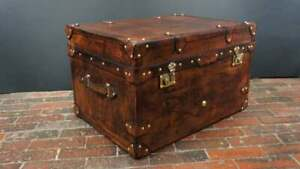 English Bridle Leather Tan Coffee Table Trunk