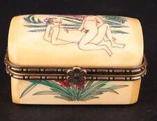 Rare Chinese Cattle Bone Jewelry Box Old Handmade Men Women Love Collection