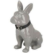 30cm New Elegant Grey French Bull Dog with Heart Collar Ornament Statue Decor