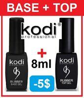 BEST PRICE! 2pcs Rubber BASE + TOP 8ml. Kodi Professional Gel LED/UV