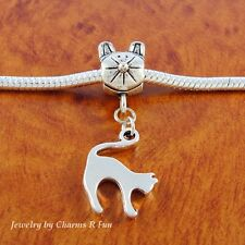 Cat charm sliding cat bead fits silver European charm bracelet or necklace