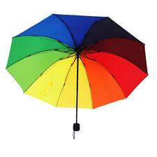 1x Regenbogen Regenschirm Kompakt Winddicht Regenfest Klassischer