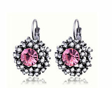 Silver Plated Pink Vintage Rhinestone Crystal Round  Lever Back Earrings Gift