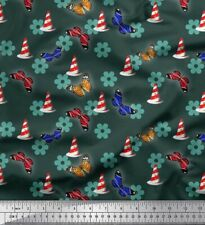 Soimoi Fabric Lighthouse,Floral & Butterfly Print Sewing Fabric BTY - BT-550A