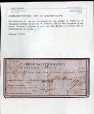 1855 RICEVUTA IMPOSTAZIONE STAMP INCL BRESCIA 18/12/55 CONOSCIUTO SOLO SU RICEVU