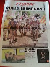 journal  l'équipe 22/07/2001 CYCLISME TOUR DE FRANCE 2001  ARMSTRONG JALABERT