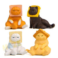 4 pcs/set Head Clip Toast Cat Creative Decora PVC 3cm Gift Toy Cute Figure New