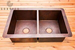 Handmade Hammered Copper Double Bowl Kitchen Sink Drop In / Undermount
