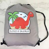 Personalised Red Dinosaur Drawstring Grey PE Bag Kids Swimming Gym Kit School