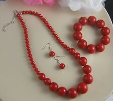 RED GRADUATED BEAD NECKLACE EARRINGS  AND BRACELET SET