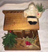 VINTAGE CHRISTMAS 'FOLK ART' WOODEN BANK - HOUSE WITH COTTON SANTA ON ROOF