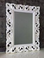 Grande Barroco Espejo de pared Ornamento 62x85 pie Blanco pasillo