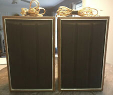 (2) Sony Shelf Speakers Vintage Wood Grain Box Black Brown Cloth Speaker Covers