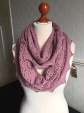 Stunning 50/50 Angora Wool lace snood / infinity scarf col. Dusky Pink