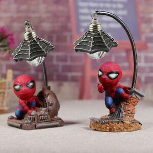 Spiderman Night Mini Light Desk Table Lamp Avengers Decor Children Figure Toy