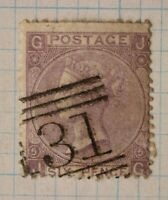 GB sc#45 plate 5 used stamp QV sg#84 cv$80.00 6 six pence numeral 31 handstamp