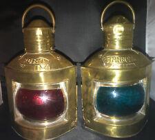 Vtg Antique Brass Port & Starboard Ship Lanterns/Pr of Nautical Oil Lamps Decor