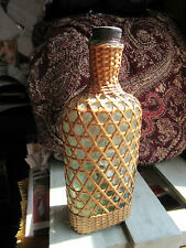 Vintage Wicker wrapped / covered drink / whisky / bottle, Flask, stopper. Prop.