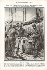 1915 WWI PRINT HYPO-SATURATED STRAW WHEN POISON GAS-CLOUD IS SEEN FRENCH METHOD