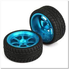 4 x RC1:10 On-Road Car Plastic Drift Tire Sets with Blue Alloy 7-Spoke Wheel Rim