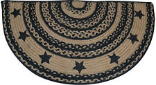 New BLACK FARMHOUSE STAR HALF RUG Jute Floor Mat Country Primitive Door Kitchen